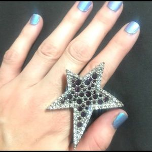 Purple Blingy Rock Star Ring!! One Size Fits Most